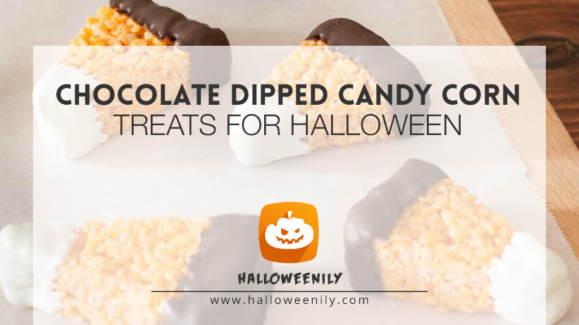 Chocolate Dipped Candy Corn Treats for Halloween
